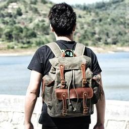 ~皮皮創~原創設計手作包。大容量戶外專用後背包二戰軍事旅行包休閒書包個性吃雞西部牛仔雙肩背包