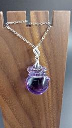 天然水晶紫水晶錢袋造型吊墜