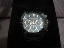 日本 Daniel Muller 玫瑰金字黑色三眼手錶