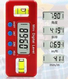 【雜貨鋪】附電池 4種單位轉換  迷你 帶磁 數顯水平尺 電子水平尺 數位角度尺 角度儀 水平儀 坡度儀