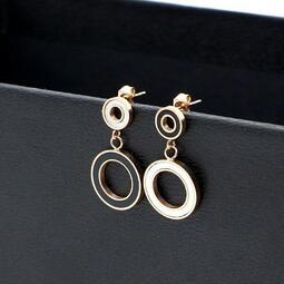 18K玫瑰金黑白圓環耳環