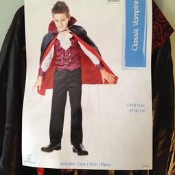 萬聖節小惡魔 變裝派對 經典吸血鬼 德古拉伯爵附披風/斗篷 幼稚園變裝 戲服 表演服 COSPLAY M(8-10歲)