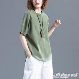棉麻上衣 棉麻短袖T恤女夏文藝復古寬鬆大碼顯瘦素色休閒百搭亞麻襯衫上衣 一級棒