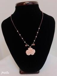 天然紅珊瑚「粉珊瑚芙蓉玫瑰花項鍊」