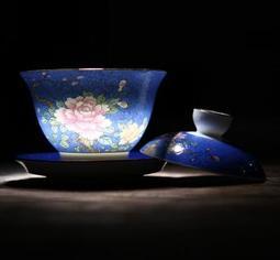 ForMe;6色超美瓷器!景德鎮陶瓷蓋碗茶具~手繪漸變勾勒花三才蓋碗茶杯泡茶杯 宮廷茶杯 泡壺茶具