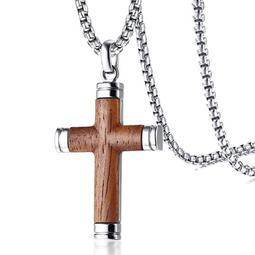 《 QBOX 》FASHION 飾品【CPN-1073】精緻個性歐美梨花木紋十字架鈦鋼墬子項鍊