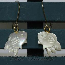 夏日風情 金魚耳環 貝殼耳環 珍珠貝耳環 耳針耳環 流行飾品 約1x3公分 D7-3