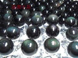 『晶鑽水晶』頂級4A彩虹雙面黑曜石球21mm墨西哥當地精緻研磨*帶雙眼*天地眼~買6送1
