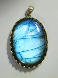 *琹家* 花紋925銀包邊 超強滿光藍光拉長石