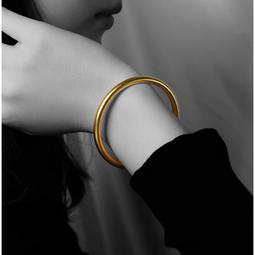 F72-抖音同款傳承古法黄金色手鐲磨砂面不掉色情侣男女網红手環刻字