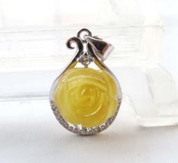 蜜蠟雞油黃吊墜項墜天然琥珀雕刻玫瑰花掛墜吊墬墬子掛件項鍊水晶珠寶玉石寶石首飾飾品專櫃精品