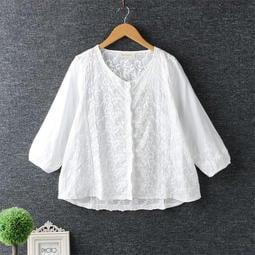 日系新款民族風小清新摟空刺繡圓領開衫七分袖棉麻襯衫女寬鬆外套