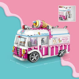 <蟹老闆的家> LOZ 新款MINI系列 仿真 冰淇淋車 鑽石積木 迷你小顆粒微型樂高創意拼插益智兒童 LEGO