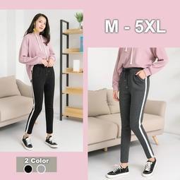 大尺碼 加絨白條紋加厚運動休閒褲2色 M- 5XL【紐約七號】A3-070