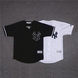 【冰球服】揚基NY條紋棒球服短袖開衫男寬松大碼T恤bf街舞嘻哈數字球衣班服
