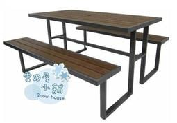 ╭☆雪之屋小舖☆╯S43A17 塑木野餐桌椅組(有傘孔)@店長嚴選@ 啤酒桌/戶外休閒桌/公園桌