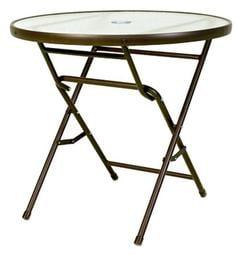 【加百列庭園休閒傢俱】歐式休閒風情~80cm半鋁玻璃庭院摺疊圓桌(咖啡框)(白框)~居家休閒景觀餐廳~戶外咖啡桌椅必備!