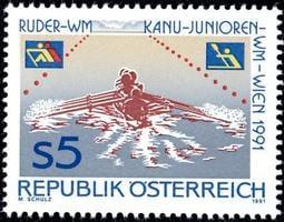 ★--奧地利郵票--1991年--維也納划船和青少年獨木舟世界錦標賽--- 1 全---集錦專題--★◆-F520