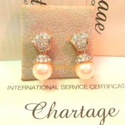 比利時【Chartage】無過敏無鎳包18K金鑲嵌水晶鑽養珠耳環[穿耳] (9513213)