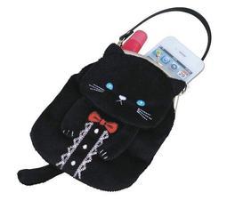 日本品牌 可愛黑色貓咪手機收納包眼鏡化妝品收納袋零錢包信用卡悠遊卡片收納袋子  5238c