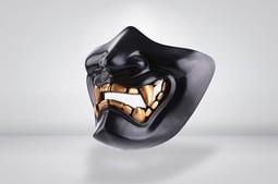 RST 紅星快遞 - 般若之面 惡鬼面罩 鬼面具 硬殼半罩式 防彈面罩 般若面具 派對角色扮演 黑色 ... 05097
