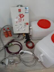 熱水器 露營熱水器 露營車用熱水器 露營車洗澡 露營洗澡 6L瓦斯熱水器 露營洗澡神器套組