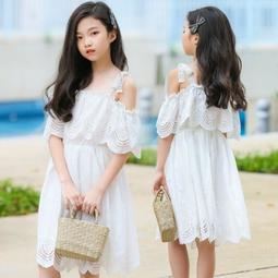 兒童洋裝 純白縷空緹花露肩公主連衣裙 女孩度假連身裙子 女童禮服中大童尺寸CL135