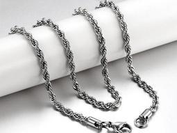 跨飾代-4mm麻花鏈子 不鏽鋼鍊條 搭配墬子 配玉 配銀飾品 配項鍊 配戒指 抗過敏 不退色 女鍊D-317單條價