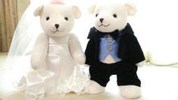 結婚熊 婚紗熊 情侶熊 拍婚紗道具 宴客擺設 四肢手腳可動 大號(高36公分)