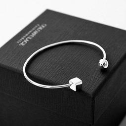 簡約不對稱感C型缺口925純銀手環 方塊加上圓珠造型 柒彩年代【NPA350】抗過敏