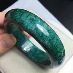 天然藍綠孔雀色藍寶石 厚寬版手鐲 ~~ 帶鳳凰綠松藍寶石 色彩豔麗繽紛 ~~ 難得收藏品 非常漂亮稀有 ~~T