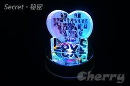 【Secret】K9水晶 LOVE 愛心桃心擺飾+MP3 七彩 LED 旋轉台 音樂盒 大號 - 可自行灌 MP3