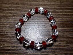 貝石之戀-白水晶扭珠.紅玉髓