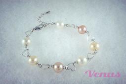 【維納斯珠寶】純天然淡水珍珠-時尚粉彩珍珠手鍊配鍊款-愛心型配鍊