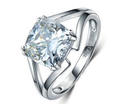 結婚求婚戒指女鑽石 3克拉犒賞自己 韓版飾品 精工爪鑲單碳原子鑽戒 純銀鍍鉑金指環  FOREVER鑽寶