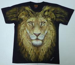 【Mr.17】夜光高畫質滿版大圖 獅子 獅頭 獅王 動物 泰國進口男士短袖無接縫滾筒T恤 T-SHIRT(RF060)