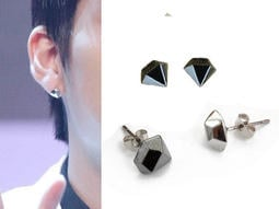 ♡水星球♡ B1611銀色 鑽石造型耳環(1個)EXO BTS耳骨釘INFINITE聖圭Hoya優炫 東雨L成烈