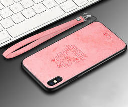 Apple iPhone Xs Max X 布紋保護殼 招財貓手機殼 保護套 全包邊背蓋 腕帶掛繩 TPU軟殼