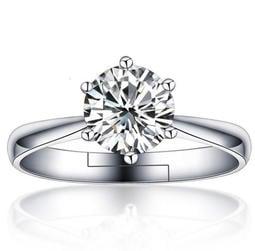 日韓時尚白金女款一克拉鋯石水鑽可調式開口戒指情人節禮物生日禮物買一送二