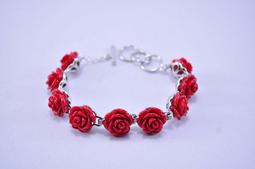 [Max shop] 貝殼 紅玫瑰 手鋉