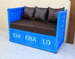 【歐風別館】工業風貨櫃造型二人皮沙發【藍色】【基隆至台中免運費】