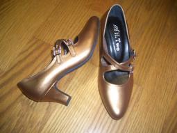 古銅色高跟標準舞鞋*送止滑墊可做包鞋穿*一鞋兩穿