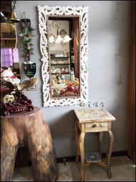 南法鄉村風 復古木製方形白色刷舊壁鏡 超大型立體雕刻仿舊玄關鏡子化妝鏡穿衣鏡連身鏡掛鏡藝術造型鏡【歐舍家飾】
