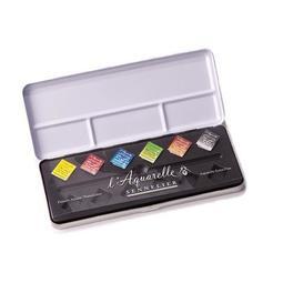 【品 · 創藝】精品美術-法國SENNELIER申內利爾 專家級蜂蜜塊狀水彩 黑鐵盒組-6色半塊