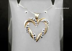 《鑽石首飾 Diamond》10K金 LOVE 愛心雙色鑽石墜子