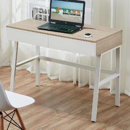 【在地人傢俱】19 便宜購-9602淺木紋白色雙色3.3尺二抽書桌/電腦桌 SH848-1