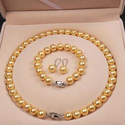 TINGMI小舖 10mm天然貝珠項鍊手環耳環 外加超值精美盒裝
