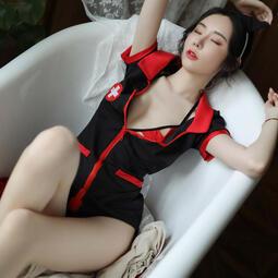 護士服 角色扮演護士服 黑色短袖洋裝護士服比基尼護士服 流行e線A7254