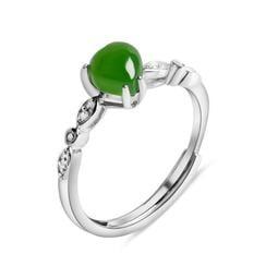【預購商品-JJ079】S925純銀精緻天然和田玉心形碧玉玉石開口戒指~ 抗過敏