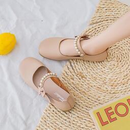 女鞋 平底鞋女夏單鞋2020新款百搭淺口奶奶鞋森女系鞋子學生珍珠豆豆鞋